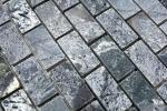Mosaik Fliese Quarzit Naturstein Brick silbergrau poliert MOS28-0202_C_m