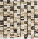 Mosaik Fliese Marmor Naturstein Stäbchen beige Carpet Crema Marfil Dark Emperador honed MOSSopo-M10-VH21