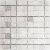 Mosaik Fliese Marmor Naturstein grau Grau Streifen MOS42-0204