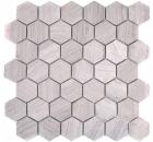 Mosaik Fliese Marmor Naturstein Hexagon Marmor grau Streifen MOS44-1205