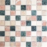 Mosaik Fliese Marmor Naturstein creme beige rot grün Random MOS42-1204