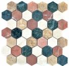 Mosaik Fliese Marmor Naturstein creme beige rot grün Hexagon Random MOS42-1213