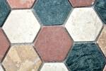Mosaik Fliese Marmor Naturstein creme beige rot grün Hexagon Random MOS42-1213_m
