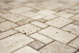 Mosaik Fliese Travertin Naturstein Kombination Travertin beige MOS43-1212-15