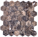 Mosaik Fliese Marmor Naturstein Hexagon Impala braun geflammt MOS42-1313