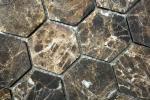 Mosaik Fliese Marmor Naturstein Hexagon Impala braun geflammt MOS42-1313_m