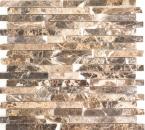 Mosaik Fliese Marmor Naturstein Brick Impala braun poliert MOS40-1306