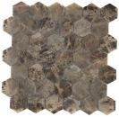 Mosaik Fliese Marmor Naturstein Hexagon Impala braun poliert MOS42-1311