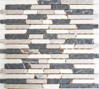 Mosaik Fliese Marmor Naturstein beige grau schwarz Brick Botticino Nero MOS40-0204