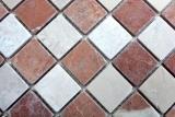 Mosaik Fliese Marmor Naturstein rot beige schachbrett Rosso Verona Botticino Anticato MOS42-1004_m