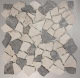 Mosaik Fliese Marmor Naturstein grau beige Bruch Ciot Grau Botticino MOS44-0108