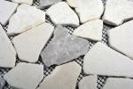 Mosaik Fliese Marmor Naturstein grau beige Bruch Ciot Grau Botticino MOS44-0108_m