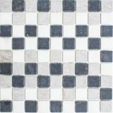 Mosaik Fliese Marmor Naturstein beige grau schwarz Marmor Botticino Nero MOS40-MOS32/1125