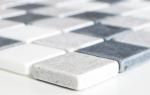 Mosaik Fliese Marmor Naturstein beige grau schwarz Marmor Botticino Nero MOS40-MOS32/1125_m