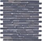 Mosaik Fliese Marmor Naturstein schwarz Brick Nero Marquina MOS40-0125