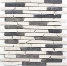 Mosaik Fliese Marmor Naturstein beige schwarz Brick BianconeJava MOS40-0115