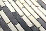 Mosaik Fliese Marmor Naturstein beige schwarz Brick BianconeJava MOS40-0115_m