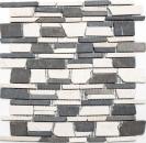 Mosaik Fliese Marmor Naturstein beige schwarz Brickmosaik BianconeJava MOS40-0205