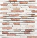 Mosaik Fliese Marmor Naturstein beige rot Brick RossoCream MOS40-0135