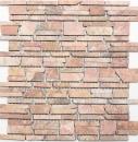 Mosaik Fliese Marmor Naturstein rot Brickmosaik Rossoverona MOS40-0220