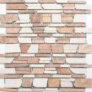 Mosaik Fliese Marmor Naturstein beige rot Brickmosaik Biancone Rosso MOS40-0225