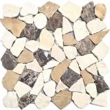 Mosaik Fliese Marmor Naturstein beige braun Bruch Ciot CastanaoCream MOS44-30-190