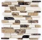 Mosaik Fliese Marmor Naturstein beige braun Brickmosaik Castanao Biancone MOS40-12-295