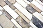 Mosaik Fliese Marmor Naturstein beige braun Brickmosaik Castanao Biancone MOS40-12-295_m