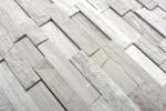 Mosaik Fliese Marmor Naturstein Brick Splitface grau Streifen MOS40-3D20_m