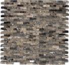 Mosaik Fliese Marmor Naturstein hellbraun Brick Splitface Emperador 3D klein MOS40-3D76