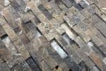 Mosaik Fliese Marmor Naturstein hellbraun Brick Splitface Emperador 3D klein MOS40-3D76_m