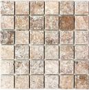 Mosaik Fliese Travertin Naturstein Medio walnuss braun Fliesenspiegel Wandfliese Küchenfliese Verblender - MOS43-44048