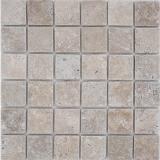 Mosaik Fliese Travertin Naturstein Medio hellbeige creme Wandverblender Duschtasse Duschwand Küchenfliese - MOS43-46048