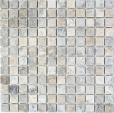 Mosaik Fliese Travertin Naturstein hellgrau silber beige mix Fliesenspiegel Wandfliese Küchenfliese Duschtasse - MOS43-47023