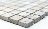 Mosaik Fliese Travertin Naturstein weißgrau silber Antique Travertin MOS43-47023