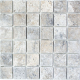 Mosaik Fliese Travertin Naturstein weißgrau silber Antique Travertin MOS43-47048