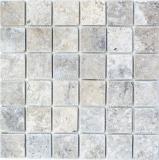 Mosaik Fliese Travertin Naturstein Medio hellgrau silber beige mix Spritzschutz Wandfliese Badfliese Küche - MOS43-47048