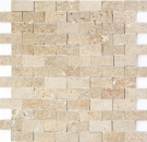Mosaik Fliese Travertin Naturstein walnuss Brick Splitface Noce Travertin 3D MOS43-44248