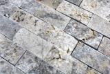 Mosaik Fliese Travertin Naturstein weißgrau Brick Splitface silber Travertin 3D MOS43-47248_m
