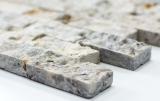 Mosaik Fliese Travertin Naturstein weißgrau Brick Splitface silber Travertin 3D MOS43-47248
