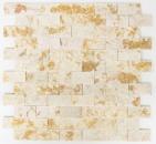 Mosaik Fliese Marmor Naturstein Brick Splitface sunny beige 3 D MOS42-X3D46