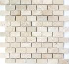 Mosaik Fliese Travertin Naturstein beige creme Brick Backsteinoptik Duschtasse Duschwand Fliesenspiegel Bad - MOS43-46234