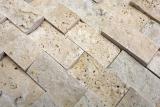 Mosaik Fliese Travertin Naturstein beige Brick Splitface Chiaro Travertin 3D MOS43-46248_m
