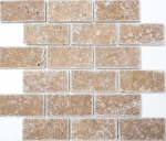 Mosaik Fliese Travertin Naturstein walnuss Brick Inula Noce Antique Travertin MOS43-1208