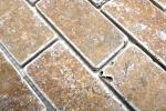 Mosaik Fliese Travertin Naturstein walnuss Brick Inula Noce Antique Travertin MOS43-1208_m