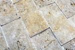 Mosaik Fliese Travertin Naturstein walnuss Brick Splitface Noce Travertin 3D MOS43-1210_m