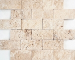 Mosaik Fliese Travertin Naturstein beige Brick Splitface Chiaro Travertin 3D MOS43-1206
