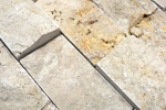 Mosaik Fliese Travertin Naturstein beige Brick Splitface Chiaro Travertin 3D MOS43-1206_m