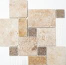 Mosaik Fliese Travertin Naturstein beige braun goldbraun Römischer Verband Fliesenspiegel Wandverblender - MOS43-1204