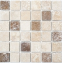 Mosaik Fliese Travertin Naturstein beige braun Chiaro + Noche Travertin MOS43-1216